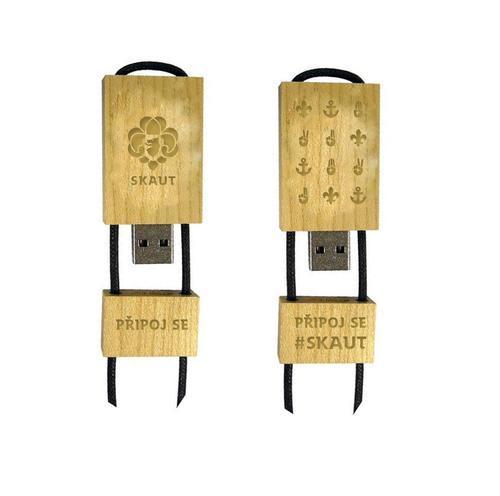 Dřevěný skautský USB 3.0 flash disk 8 GB světlý, 8 GB