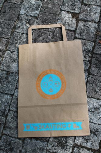 Papírová taška skaut A5, motiv oranžovomodrý - 1