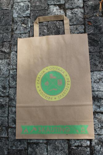 Papírová taška skaut A4, motiv žlutozelený - 1