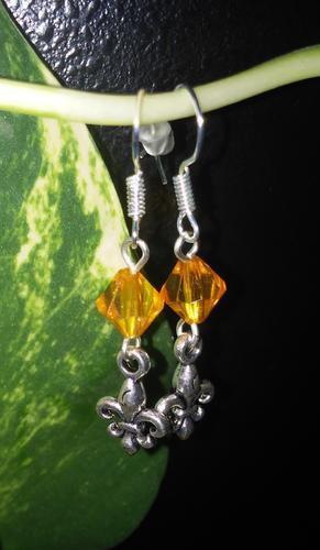 Skautské náušnice malá lilie korálek oranžový - 2