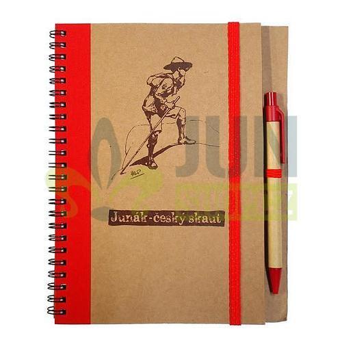Zápisník s perem červený - rover - 2