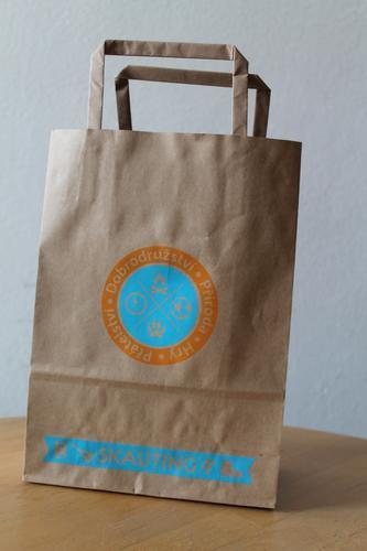 Papírová taška skaut A5, motiv oranžovomodrý - 2
