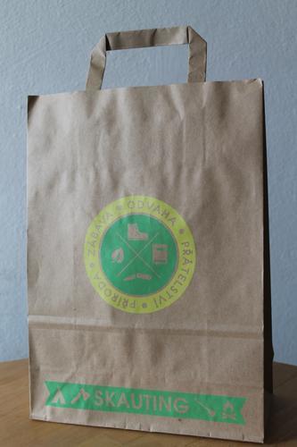 Papírová taška skaut A4, motiv žlutozelený - 2