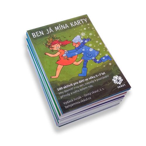 Karty Ben Já Mína v červené plátěné kapsičce, červená varianta - 4